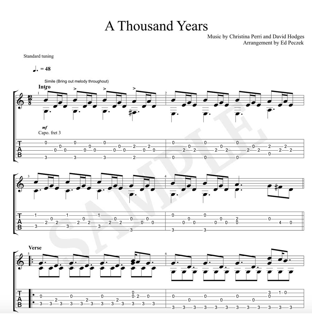 A Thousand Years for Solo Classical Guitar (Notation/TAB)