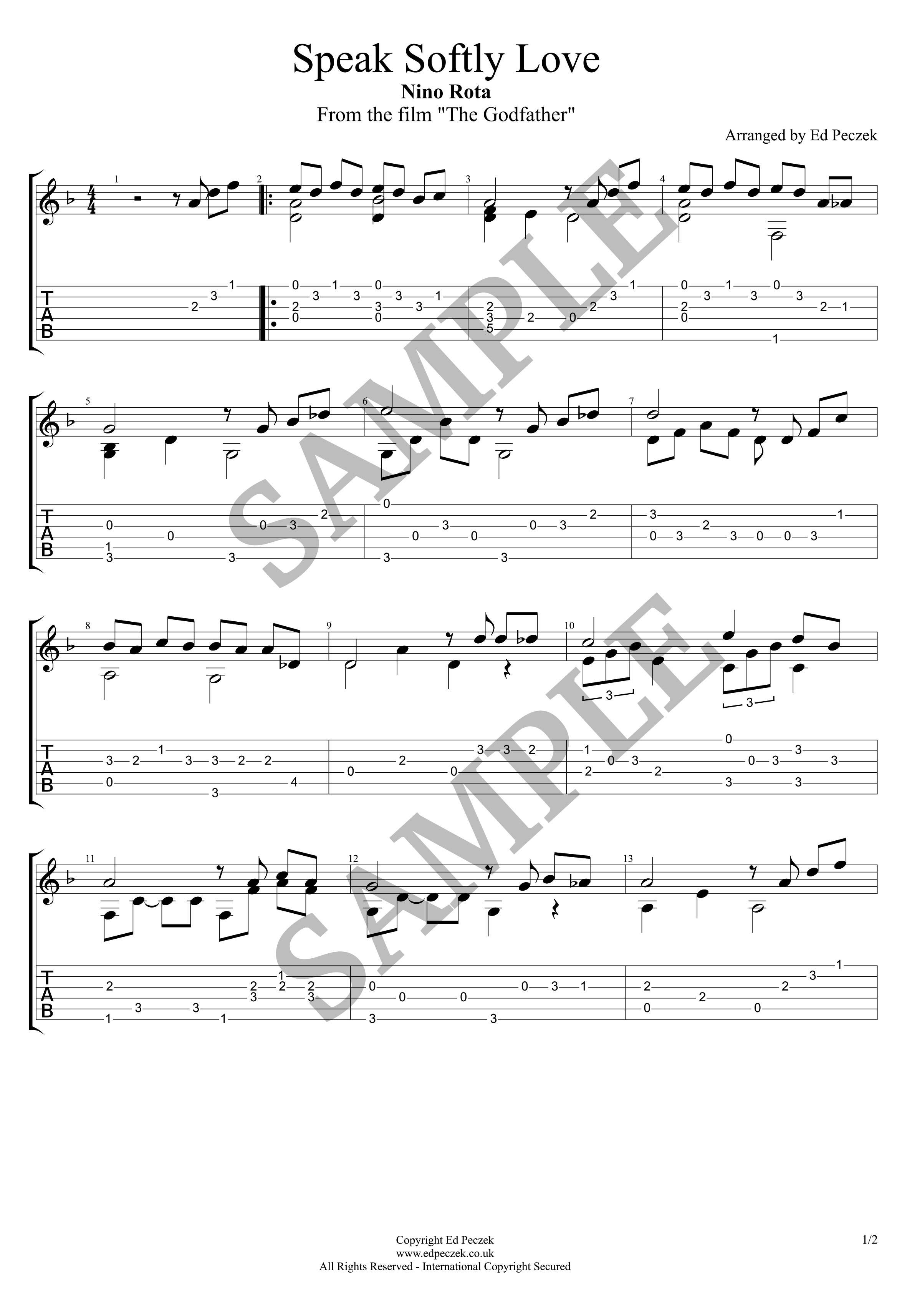 Speak Softly Love Notation Guitar Tab Wedding Guitarist